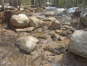 Image of 4x4 on Rubicon Trail during wet season