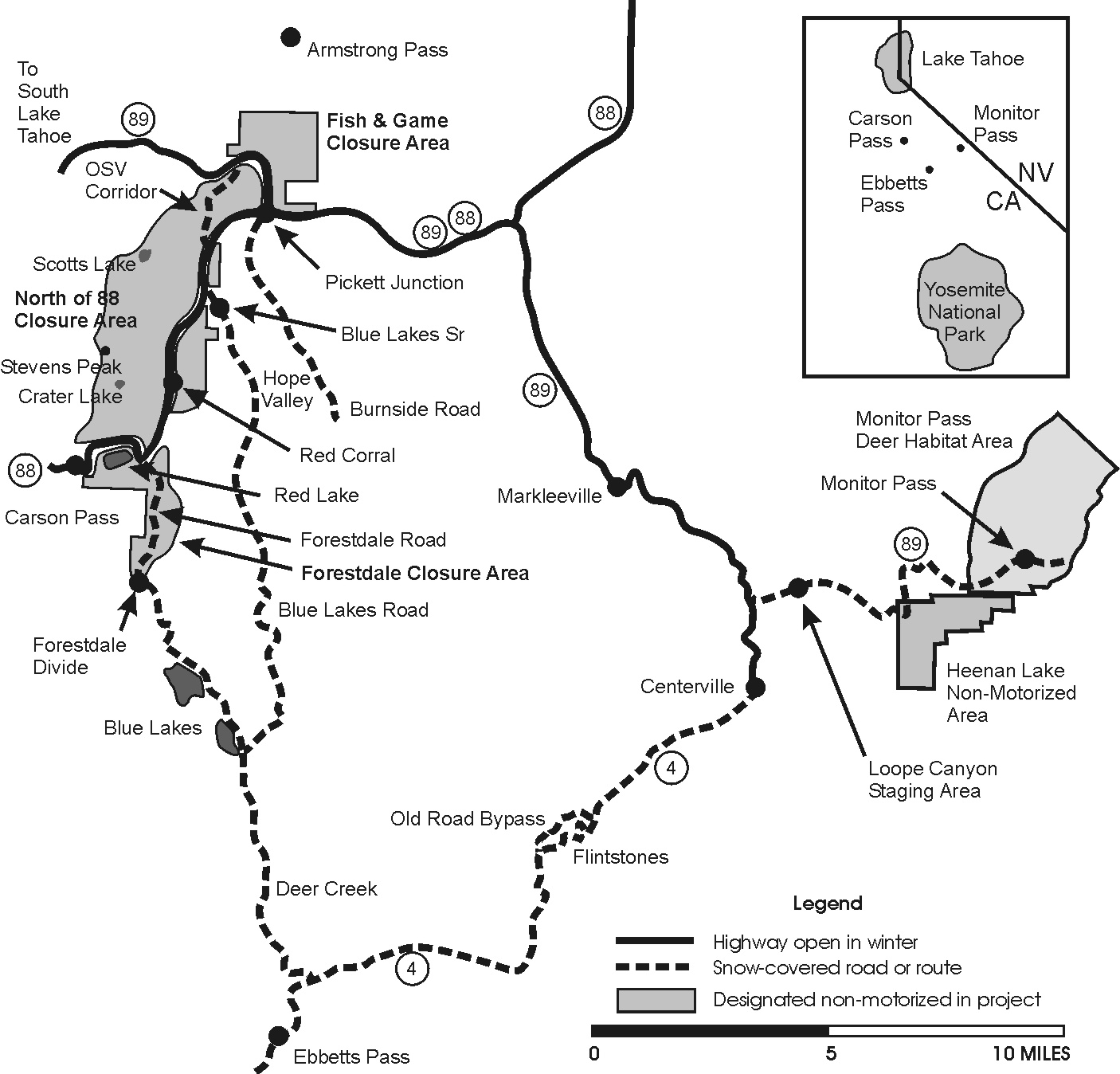 Alpine County Winter Recreation Project map